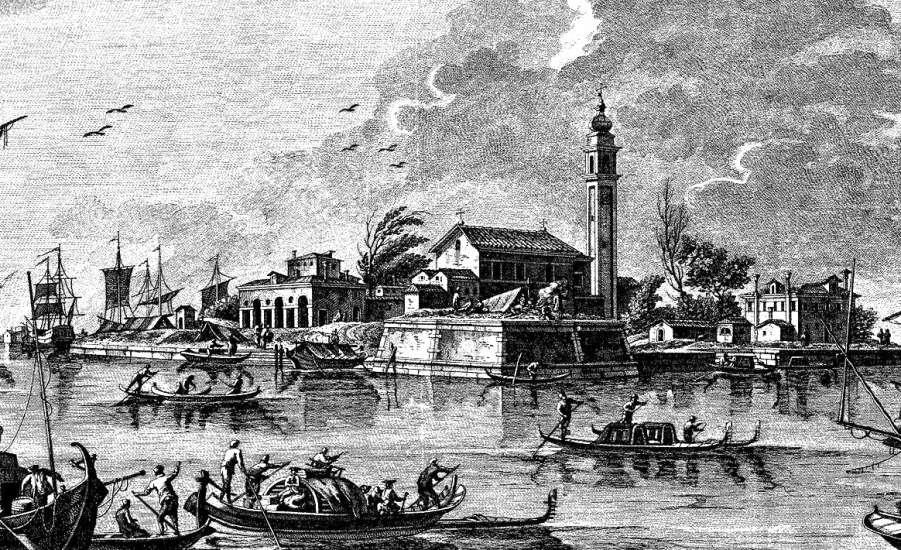 Гравюра острова Повелья во время чумы